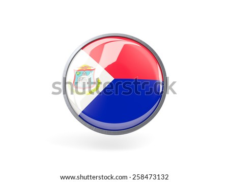 Metal framed round icon with flag of sint maarten - stock photo