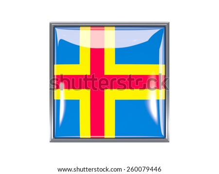 Metal framed square icon with flag of aland islands - stock photo