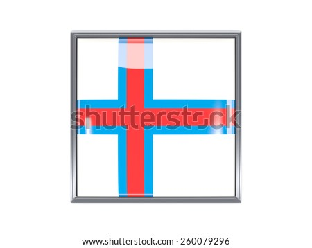 Metal framed square icon with flag of faroe islands - stock photo