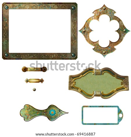 Metal frames and tags - stock photo
