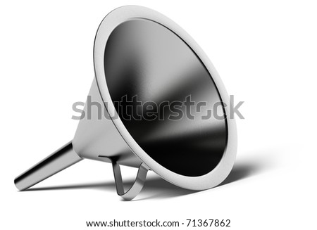 metal funnel over a white background with shadow - stock photo