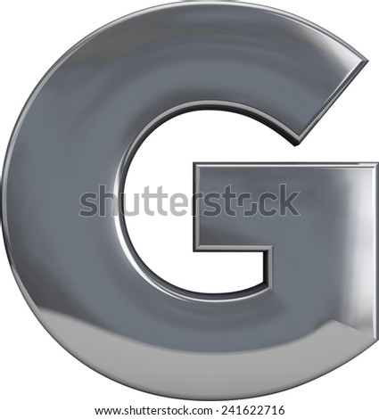 Metal G letter character isolated on white. Including clipping path. Part of complete alphabet set. - stock photo