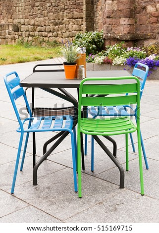 metal garden furniture table chairs on stock photo royalty free