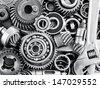 metal gears and bearings - stock photo