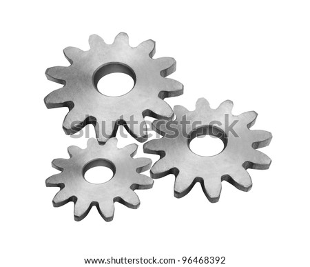 Metal gears isolated - stock photo