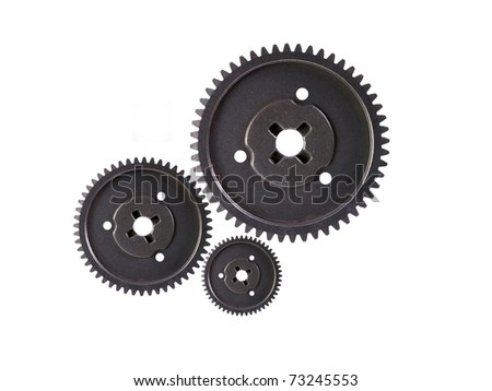 Metal gears isolated against a white background - stock photo