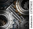 Metal Gears on Grunge Background / Mechanical template with metallic gears on gray grunge background - stock photo