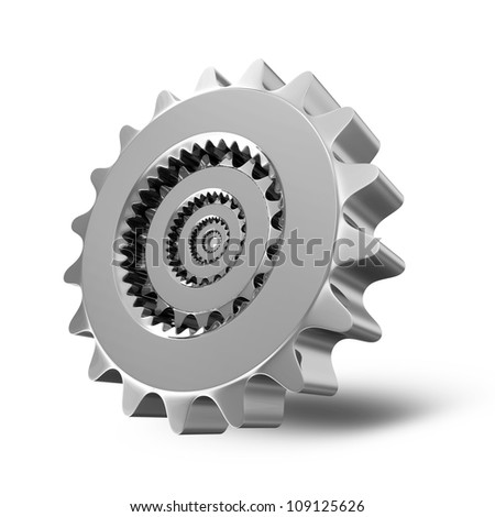 Metal Gears on white background - stock photo