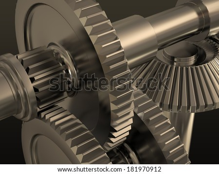 Metal gears. Part of a complex mechanism.