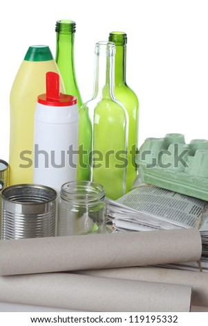 Metal, glass, paper and plastic ready for recycling - stock photo
