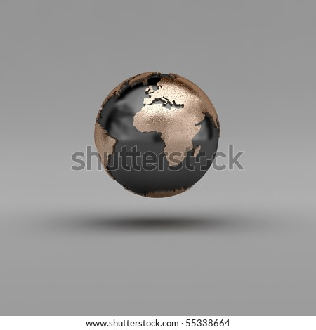 Metal globe showing Eruope and Africa over gray background - clipping path included - stock photo