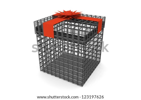 Metal grid gift with red ribbon bow on white background - stock photo