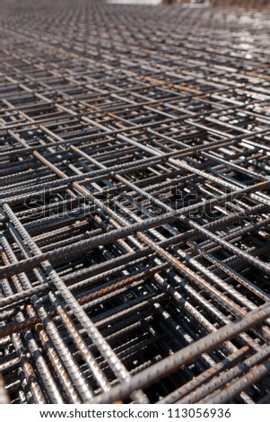 metal grid laying on construction area