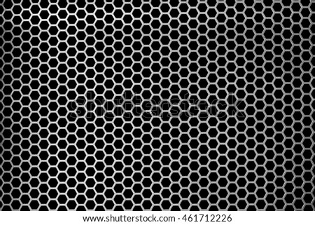Metal grid texture for design, pattern.Metal sheet, surface pattern,background.speaker close-up, silver metal net