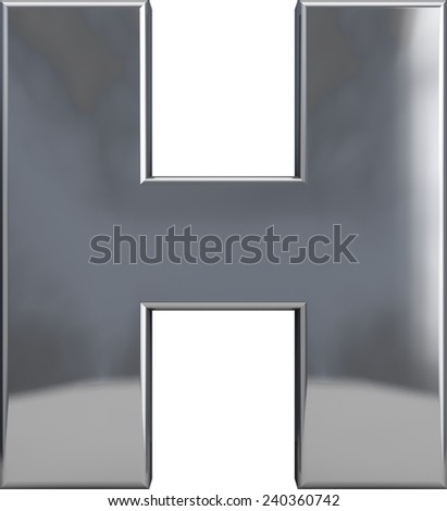 Metal H letter character isolated on white. Including clipping path. Part of complete alphabet set. - stock photo