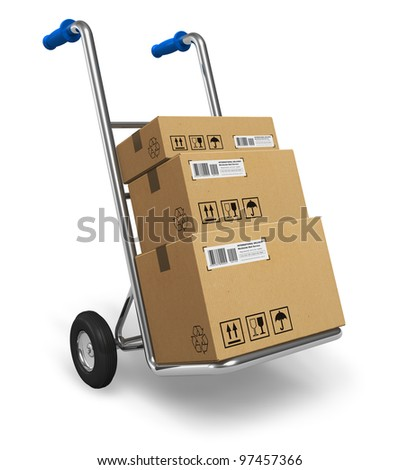 Metal hand truck with cardboard package boxes isolated on white background - stock photo