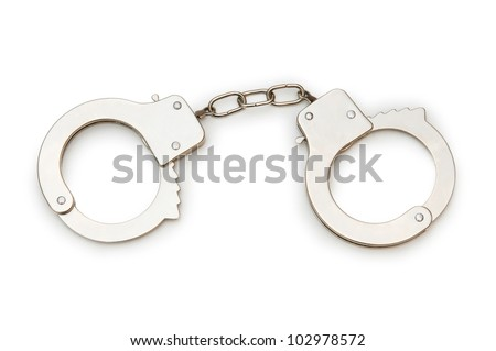 Metal handcuffs isolated on the white background - stock photo