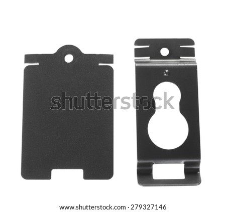 Metal helmet and belt mounting clips for an emergency flashlight - stock photo