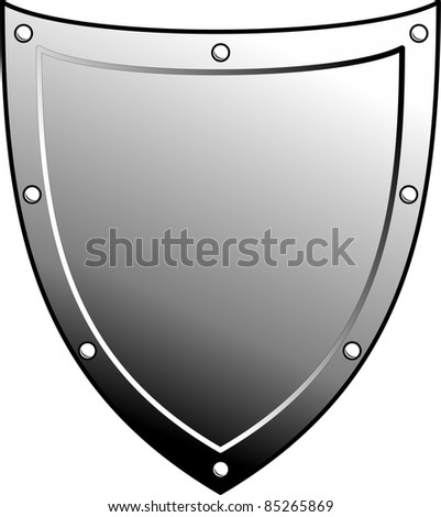 Metal heraldic shield. Armorial symbol. Isolated illustration on white background