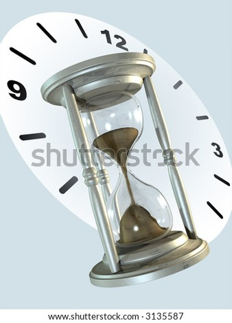 Metal hourglass and clock background. Digital illustration.