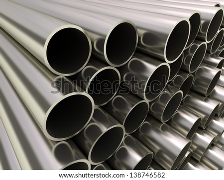 Metal industrial tubes - stock photo