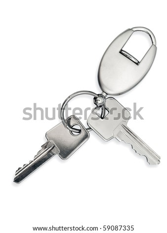 metal key with trinket over white background