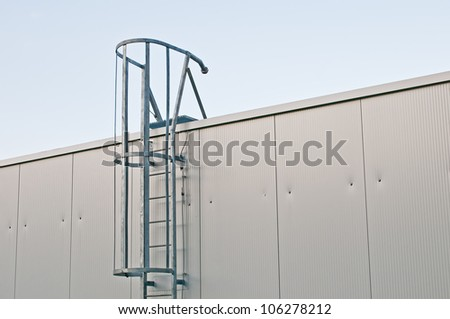 Metal Ladder on industrial roof