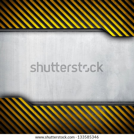 metal layout with caution stripes - stock photo