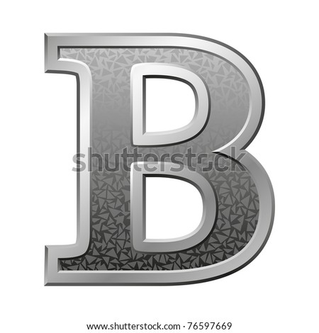 Metal letter B with a silvery fringing on a white background - stock photo