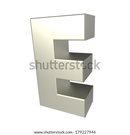 metal letter E isolated on white background