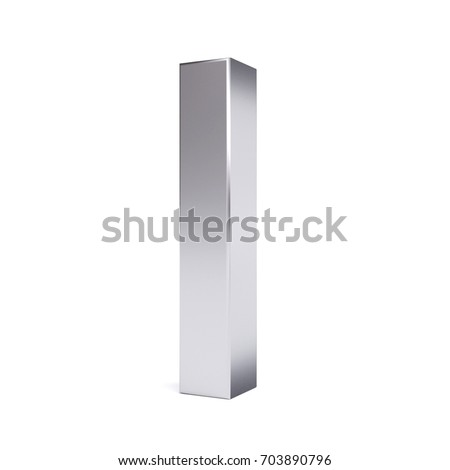 Metal letter I. Collection. 3d image