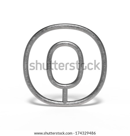 metal letter O isolated on white background - stock photo