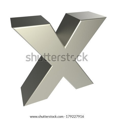 metal letter X isolated on white background - stock photo