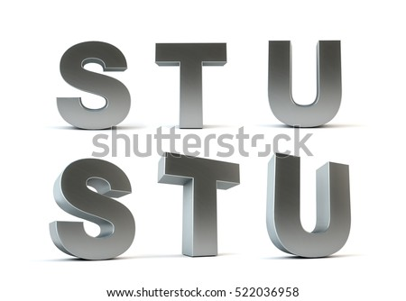 White Metal Letters Entrancing Metal Letters Isolated On White Background Stock Illustration Inspiration Design