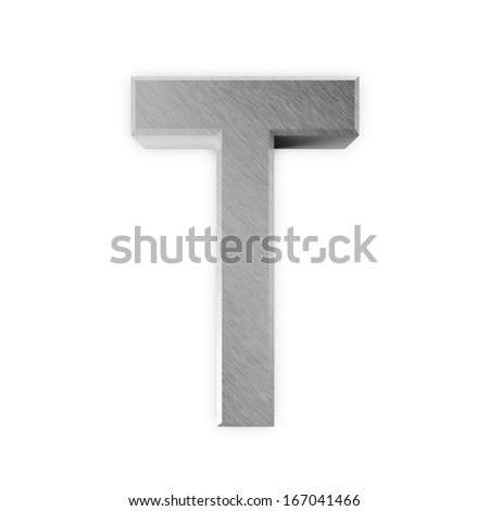 Metal Letters isolated on white background (Letter T) - stock photo