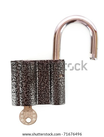 Metal lock and key isolated on white