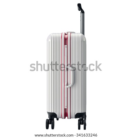 Metal luggage white, side view. 3D graphic object isolated on white background - stock photo