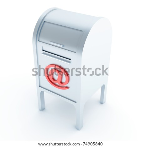 Metal mail box with e-mail symbol on a white background - stock photo