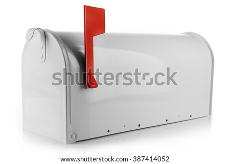 Metal mailbox isolated on white - stock photo