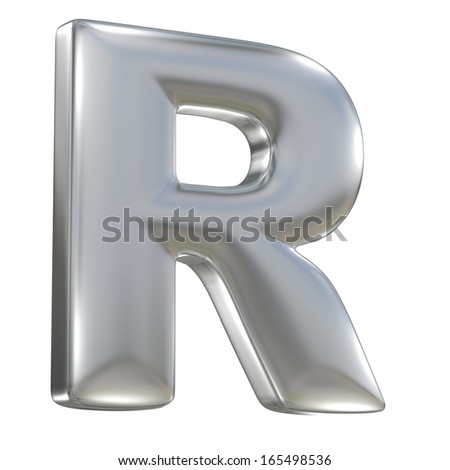 Metal matte letter R from aluminium solid alphabet isolated on white
