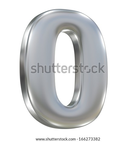 Metal matte number 0 zero from aluminum solid sequence isolated on white background