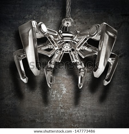 Metal mechanical crane hand on chain on grunge background. High resolution 3D image - stock photo