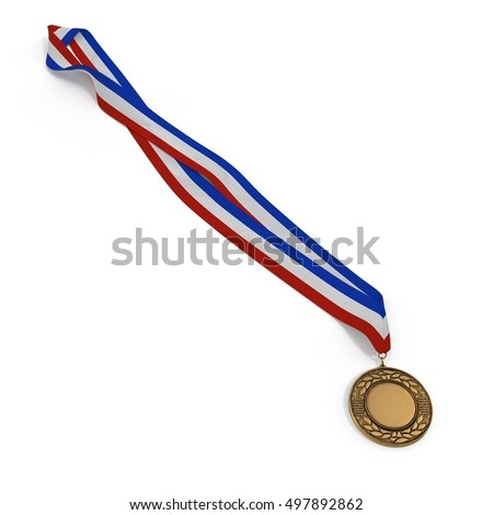 Metal medal with tricolor ribbon on white. 3D illustration