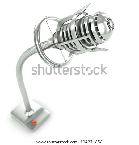 metal microphone in three dimensions with blur - stock photo