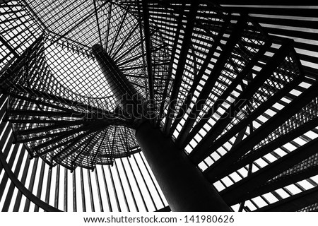 Metal modern spiral staircase details - stock photo