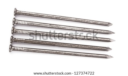 metal nails on a white background
