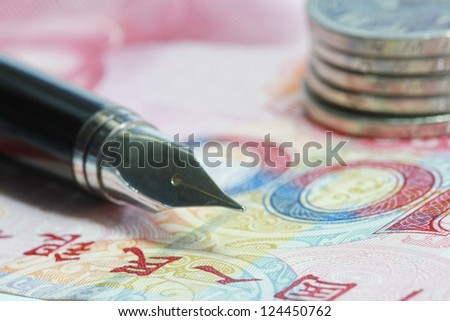 Metal Nib Pen  on china money bill and coin