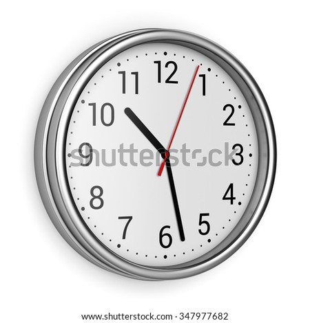 Metal office clock with numbers isolated on white background or wall - stock photo