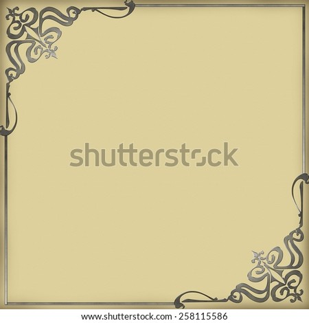 Metal ornament on old paper. - stock photo