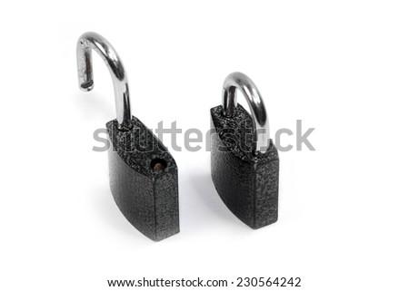 metal padlock on a light background - stock photo
